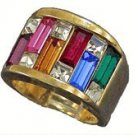Ladies Mens Fashion RING RAINBOW Colors CZs Gold PLT Size 6 New