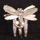 HAIR CLAMP VERY PETITE WHITE DRAGONFLY with CRYSTALS New