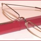 Slim Readers CLEAR GLASSES +1.0, Reading Glasses Red Case Gold Tone Frames New