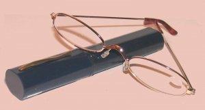 Slender This Line Slim Reading Glasses Readers Navy Blue Tube +1.0 Gold Tone Frames New