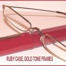 Slim Readers CLEAR GLASSES +1.50, Reading Glasses Red Case Gold Tone Frames New