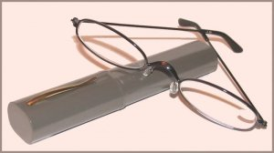 Slim Readers CLEAR Reading GLASSES +2.50 Gray Case Dark Silver Tone Frames New