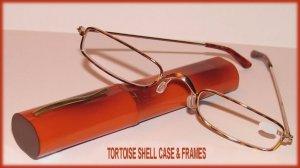 Slim Readers CLEAR Reading GLASSES +2.50, Reading Glasses TORTOISESHELL METAL FRAMES & CASE New