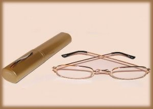 Slim Readers Glasses Reading Glasses Clear +1.50 Gold Color Case Gold Tone Frames New