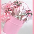 Shabby Sweet Pink Pail Basket with Lavender Sachets