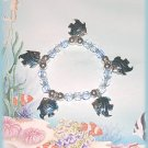 Tropical Charm Bracelet, Metallic Blue Fish Exotic Ocean Sea Gulf