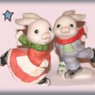 Homco Bunny Rabbits Ice Skating Figurines Set of 2 Bunnies