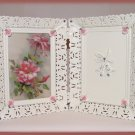 25th Anniversary Double Picture Frame Shabby Pink Roses New
