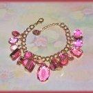 Chunky Simulated Pink Topaz Gemstones Bangle Charm Bracelet New