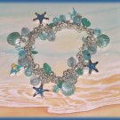 Exotic Charm Bracelet Tropical Ocean Enameled fish, Starfish, & Sea Shells New