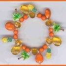 Charm Bracelet Tropical Orange Pineapples & Palm Trees New