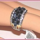 3 Row Ring of Imitation Blue Sapphires Size 10 Yellow & White Gold Plt