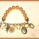Euro Style Fashion Coffee Bronze Faux Pearl Charm Bracelet New