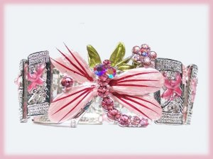 Dragonfly Bangle Panel Bracelet Faux Pink Sapphires Elegant Floral Theme