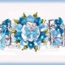 Floral Butterfly Cuff Bracelet Aqua Blue Crystal & Enamel