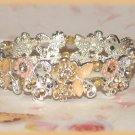 ladies Bracelet Ivory Peach & Amber Color Crystals Fancy NEW