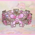 Bangle Bracelet Fancy Butterfly Lavender Pink Crystal New