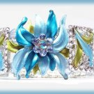 Fancy Blue Floral Flames Crystal Bangle Panel Bracelet Filigreed NEW