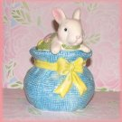White Bunny Rabbit on Blue Ceramic Trinket Jar New