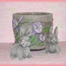 Bunny Rabbit Stoneware Flower Pot Planter Jar Flowers Hummingbirds New
