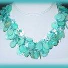 Aqua Blue Sea Genuine Abalone Shells Necklace & Earring Set New