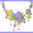 Yellow Butterfly & Purple Floral Necklace and Earring Set New