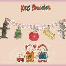Child Kid Size SCHOOL KIDS CHARM BRACELET APPLE NOTEPAD BUS Pink New