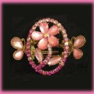 Lovely HAIR CLAMP Pink Rose Floral Swarovski Crystals New