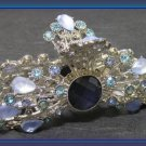 HAIR CLAMP Aqua Blue & Lavender Crystals & Stones Sunburst Silver tone New