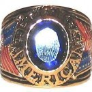 PROUD AMERICAN RING Tea Party Patriot BLUE CZ Size 12 YGP New