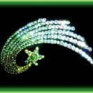 Ice Green Shooting Star Hair Barrette Clip Sparkling Swarovski Crystals Black Metal New