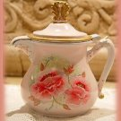 Lovely Little Vintage Shabby Roses HP Teapot Pitcher Creamer Silverplate