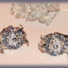 Kids Child Mini Hair Clamps Set of 2 Crystals Flowers Silver tone New