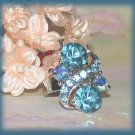 Blue Crystals Dinner Fashion Ring Crystals Size 6 adjustable Silver Tone New
