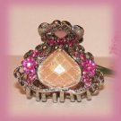Pink Crystals & Stone Hair Clamp Ornate Silver tone New Petite