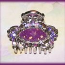 Purple Amethyst Color Crystals Hair Clamp Ornate Silver tone New Petite