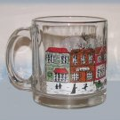 Christmas Cup Mug Old Time Village Town Scene Glass Gold Rim Holiday Season New