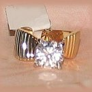 Solitaire Crystal Clear Sparkling CZ 18k YGP Engagement Fashion Ring Size 6 New