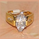 Solitaire Marquise Cut Sparkling CZ 18k YGP Engagement Fashion Ring Size 7 New