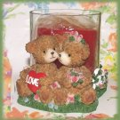 Cuddling Love Brown Teddy Bears Red Candle & Glass Holder Scented New