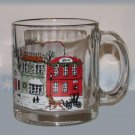 Cup Mug Old Time Christmas Village Town Scene Glass Gold Rim Holiday Season New