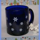 White Snowflakes Drinking Cup Mug Cobalt Blue Glass Winter Holiday New