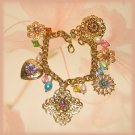 Gold-Plated French Vintage-style Flower Filigree Charm Bracelet New