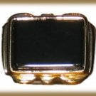 Men's Classic Black Onyx Ring Yellow Gold Plt. Size 11 New