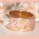 Pink Enameled Ring, Pink & Green Crystals Yellow Gold Plt, Wide Band Size 7 New