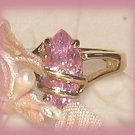 Pink CZ Fashion Ring, YGP Wire Wrap Solitaire YGP Band Prong-set Size 6 New