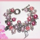 Shopping Queen Bangle Bracelet White & Pink Faux Pearls Toggle New