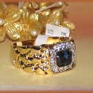 HIP HOP ICED Bling Blue CZ Nugget Ring YGP Size 12 New