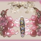 Victorian Style Pink Pastel Bracelet Faux Pearls, Beads, & Crystals New