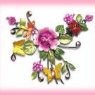 Pink Fuchsia Crystals Floral Necklace Earring Set Ladybugs, Butterflies, & Dragonflies New